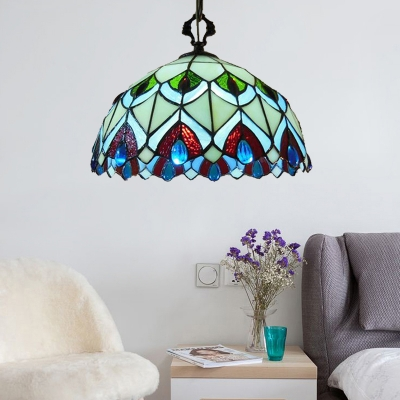Peacock Pattern 8 Inch Mini Hanging Pendant Lighting in Tiffany Stained Glass Style