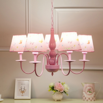 Pink Shaded Suspended Light with Butterfly Pattern Lodge Style Metallic 5 Lights Chandelier for Girls Room