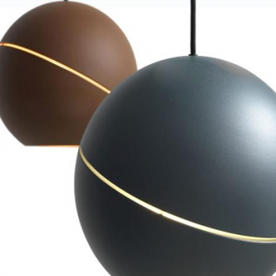 Round Pendant Light Designers Style Contemporary Metal Ceiling Light in Brown/Gray