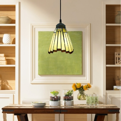 Rustic Vintage Tiffany Style Mini Pendant Light with Fan Shape Shade