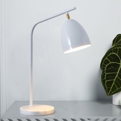 Simplicity Dome Shade Desk Light Metal Reading Light in White with Marble Base for Office