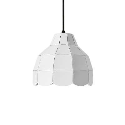 Single Head Dome Drop Light Contemporary Iron Ceiling Pendant Lamp in White Finish