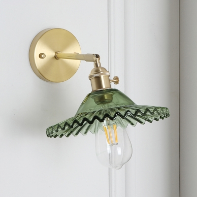 Single Head Scalloped Lighting Fixture with Green Glass Shade Modernism Sconce Lighting HL500132 фото