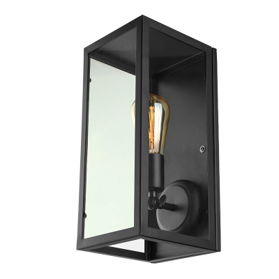 Vintage Black 6'' Wide Outdoor LED Wall Sconce with Clear Glass Shade