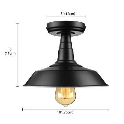 Vintage Black Single Light Down Lighting Industrial Style LED Semi Flush Ceiling Light
