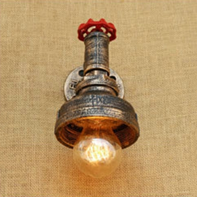 1 Bulb Water Pipe Sconce Light with Valve Retro Style Iron Wall Lamp in Antique Brass/Bronze/Silver