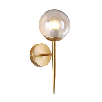 1 Head Armed Wall Sconce with Globe Glass Shade Modern Fashion Wall Mount Fixture in Gold