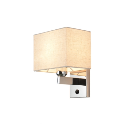 1 Head Armed Wall Sconce with Rectangle Fabric Shade Minimalist Wall Mount Light in Chrome