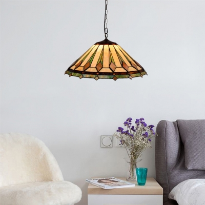 2 Light Pendant Light with 16-Inch Wide Conical Glass Shade and Metal Chain in Tiffany Vintage Style