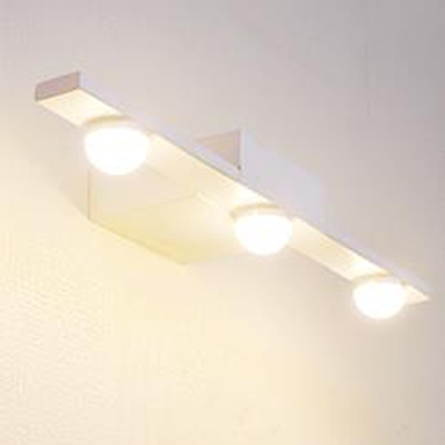 3 Light Led Cosmetic Lamp Metal Push Switch Vanity In White