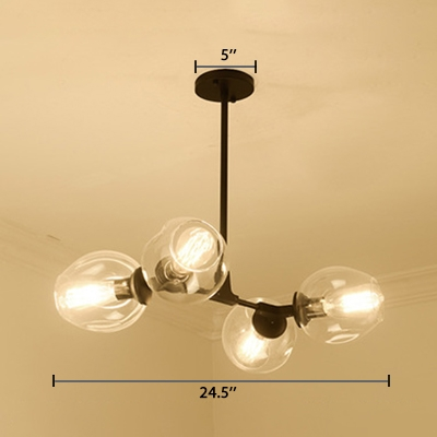 Branch Suspended Lamp Designers Style Metal 4 Light Hanging Lamp in Black for Bedroom