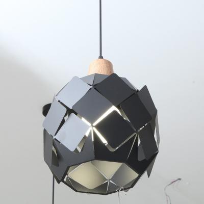 Bucket LED Pendant Lamp Designers Style Metal 1 Light Suspended Lamp in Black for Foyer