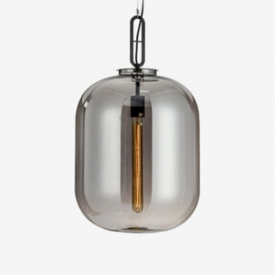 Contemporary Cylinder Suspended Lamp Smoke Closed Glass Single Light Drop Ceiling Lighting