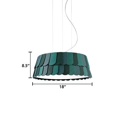 Dark Green Roofer Hanging Light Contemporary Metallic 5/6 Lights Decorative Suspension Light