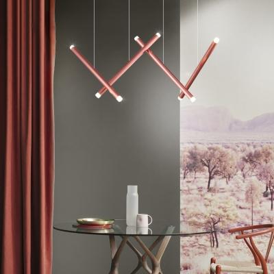 Flute Shape Pendant Light Post Modern Aluminum 4-Light LED Hanging Pendant for Children Room