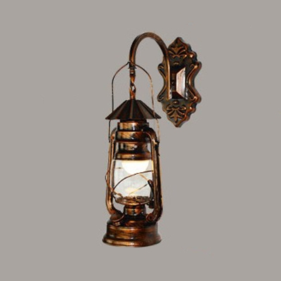 Glass Shade Lantern Wall Sconce Nautical Style Single Light Wall Light in Antique Copper for Courtyard