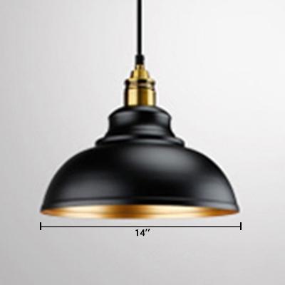 Gold Inner Finish Vintage Style Single Bulb Hanging Lamp in Black for Restaurant Dining Room