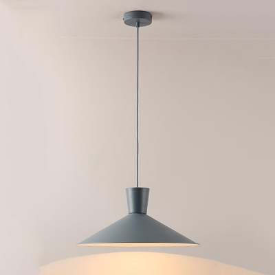 Gray Finish Cone Lighting Fixture Nordic Style Simple Metal 1 Bulb LED Pendant Lamp