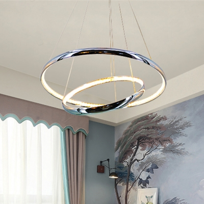 Halo Ring LED Hanging Lamp Modernism Decoration Crystal Suspension Light in Warm/White
