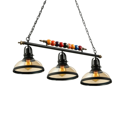 Industrial 3 Light Island Pendant with Clear Glass Shade in Black Billiard Ball Decorative Chandelier