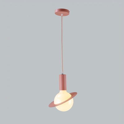 Macaron Modern Orbit Lighting Fixture Glass 1 Light Drop Ceiling Lighting for Children Room