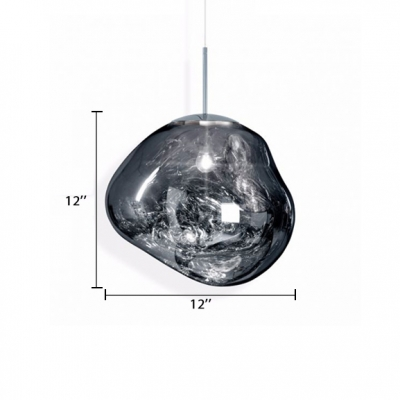 Melt Ceiling Pendant Lamp Designers Style Translucent Glass 1 Head Hanging Lamp in Silver