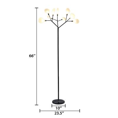 Modern Lodge Branch Floor Light Glass Multi Light Standing Light in Black for Living Room
