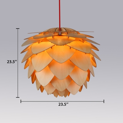Natural Designer Pinecone Suspension Light Woody Pendant Light for Bedroom Balcony