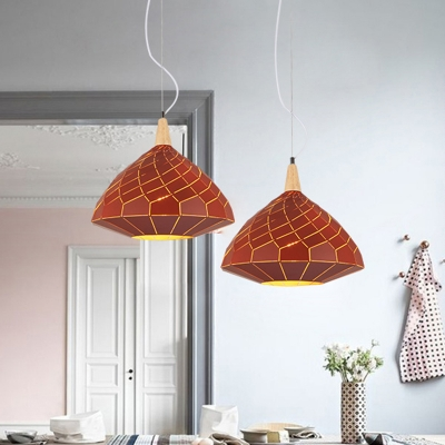 Red/Blue Gyro Suspended Light Contemporary Iron 1 Bulb Lighting Fixture for Sitting Room