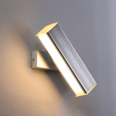 Silver Linear LED Wall Sconce Modern Simple Rotatable Aluminum Wall Mount Fixture for Corridor