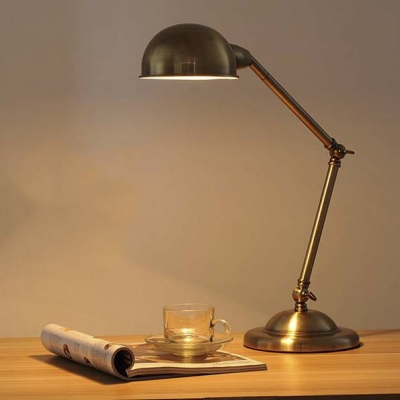 Simple 1 Light Industrial Adjustable LED Desk Lamp in Antique Brass Finish