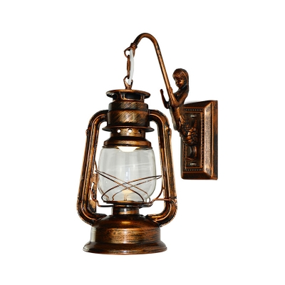 Single Light Lantern Lighting Fixture with Mermaid Retro Loft Style Glass Shade Wall Lamp in Antique Copper