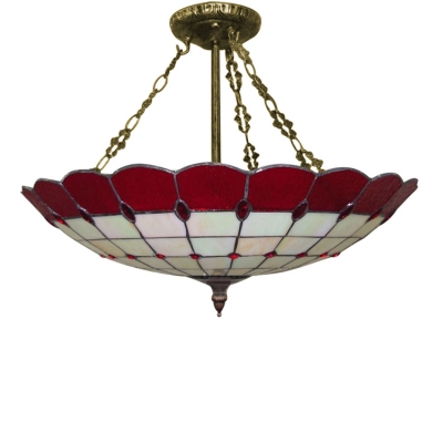 Stained Glass 20 Inch Width Tiffany Four-light Pendant Light with Circular Grid Inverted Shade