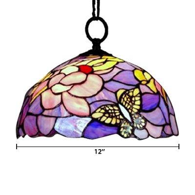 Tiffany Style Butterfly Design 12/16 Inch Hanging Pendant in Purple and Pink Color