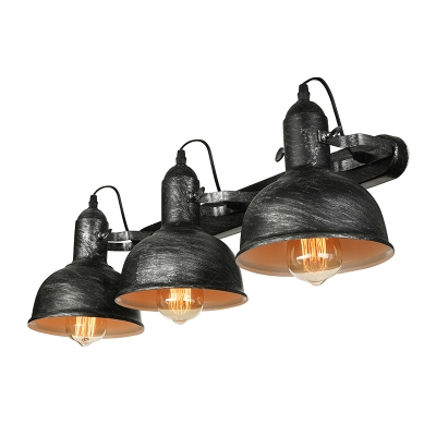 Triple Light Wall Sconce in Dome Rustic Industrial Wrought Iron Wall Light for Warehouse Bathroom Restaurant