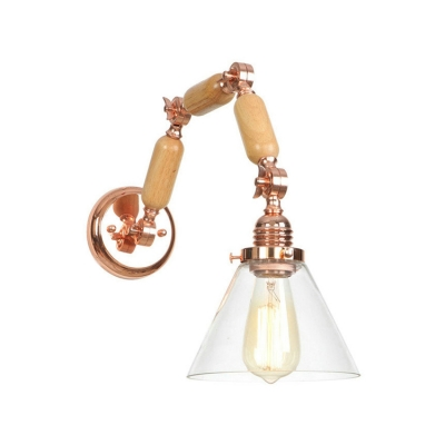 Beautifulhalo coupon: 1 Bulb Conical Wall Mount Fixture Retro Style Adjustable Wood Wall Lighting in Rose Gold