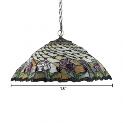 18-Inch Wide Tiffany 2-Light Pendant Light with Floral Pattern Glass Shade in Multicolored Finish