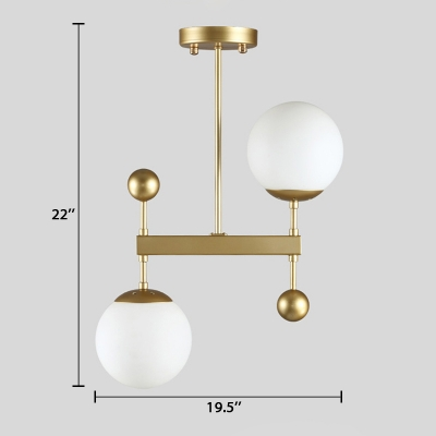 2 Light Globe Drop Lamp Designers Style White Glass Ceiling Lamp in Gold for Hallway