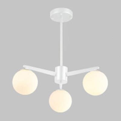 3 Light Ball Chandelier Post Modern Stylish Metal Hanging Light in White for Living Room