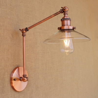 Adjustable 1 Head Flared Wall Lamp Vintage Clear Glass Wall Mount Fixture in Copper for Bedside