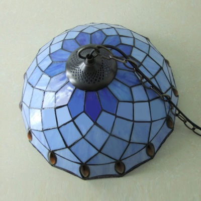 Bronze Chained Blue Stained Glass Tiffany 1-light Hanging Pendant