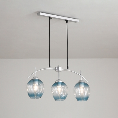 Bubble Ceiling Lamp Modern Chic Blue Glass 3 Light Decorative Suspended Light in Silver