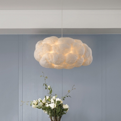 Cloud Shape Pendant Light Contemporary Cotton Decorative Hanging Light for Children Room