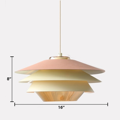 Drum Suspended Light Contemporary Macaron Multi Tier Drop Light for Bedroom