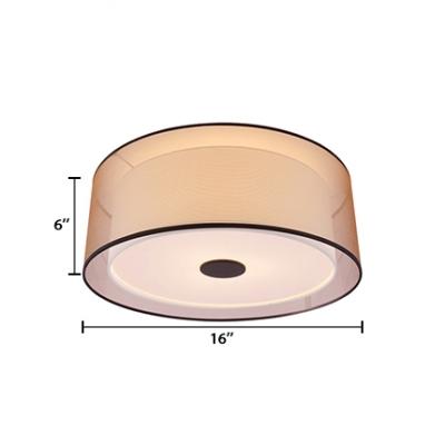 Fabric Cylinder Flush Light Fixtures Modernism Simple 3 Light Lighting Fixture in Brown