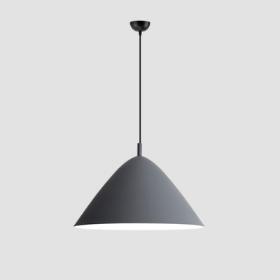 Gray Tapered Hanging Lamp with Cone Shade Aluminum Single Head LED Pendant Light for Coffee Shop