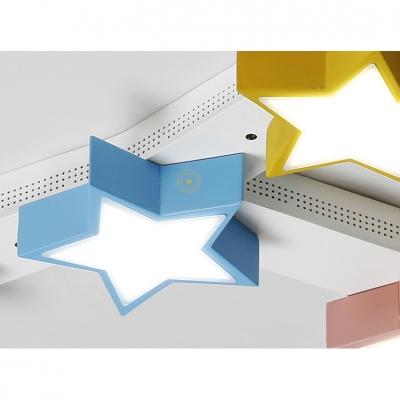 Multi Color Star Ceiling Fixture Modern Design Metal 7 Lights LED Flush Mount for Kindergarten