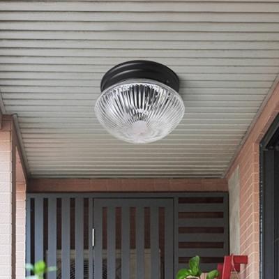 Ribbed Glass Bowl Mount Fixture Modernism Single Light Flush Light Fixtures in Warm/White