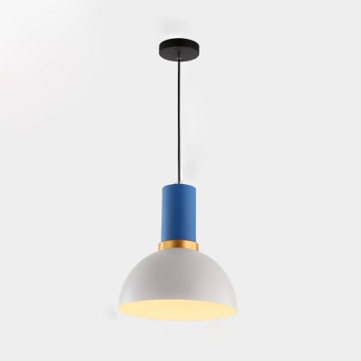 Single Light Flask Drop Light Modernism Concise Metallic Suspension Light in White and Blue