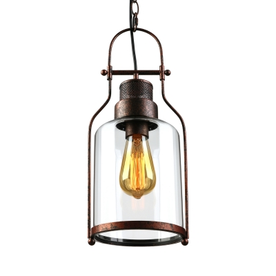 Traditional Style Glass Pendant in Cylinder Shade Industrial Single Light Ceiling Pendant in Rust